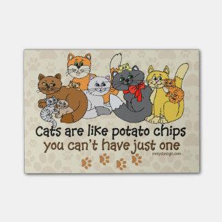 Los gatos son como las patatas fritas post-it notas