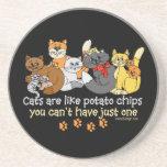 Los gatos son como las patatas fritas posavasos diseño