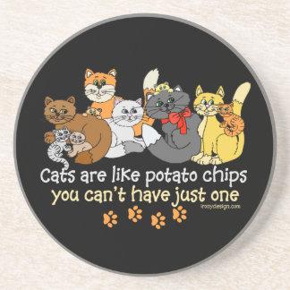 Los gatos son como las patatas fritas posavaso para bebida