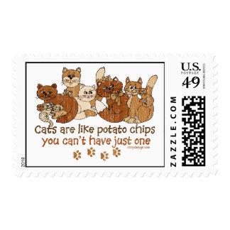 Los gatos son como las patatas fritas sellos postales
