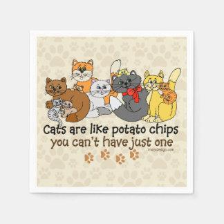 Los gatos son como las patatas fritas servilleta desechable