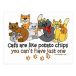 Los gatos son como las patatas fritas tarjetas postales