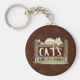 Los gatos son gente también llavero redondo tipo pin