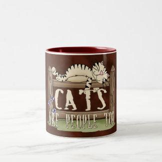 Los gatos son gente también taza dos tonos