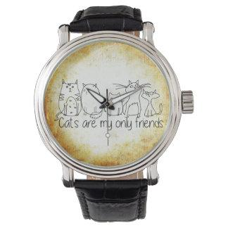 Los gatos son mi solamente cuero del vintage del relojes de pulsera