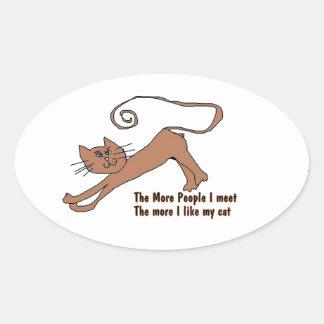 Los gatos son pegatinas frescos pegatina de oval personalizadas