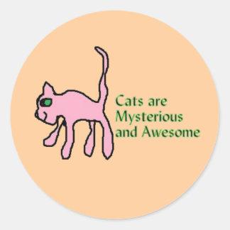 los gatos son pegatinas misteriosos e pegatina redonda
