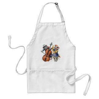 Los gatos tocan el violoncelo y los platillos en l delantal