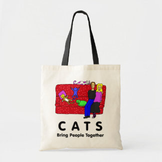 Los gatos traen a gente juntos bolsas