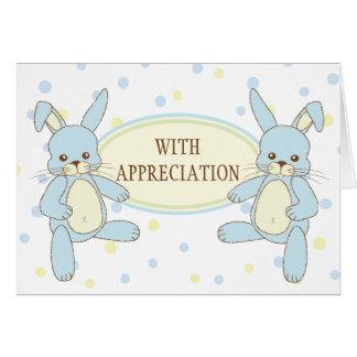 Los gemelos del conejo de conejito le agradecen No Tarjetón