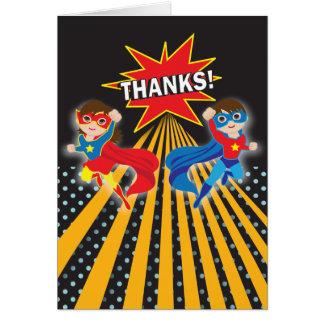 Los gemelos del super héroe el | le agradecen card tarjeta
