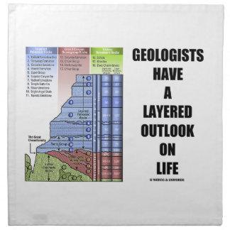 Los geólogos tienen una perspectiva acodada el la  servilletas de papel