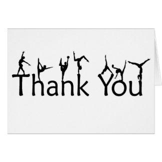 Los gimnastas en letras le agradecen cardar tarjeta pequeña