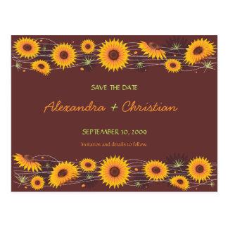 Los girasoles ahorran la invitación 2 del boda de postal
