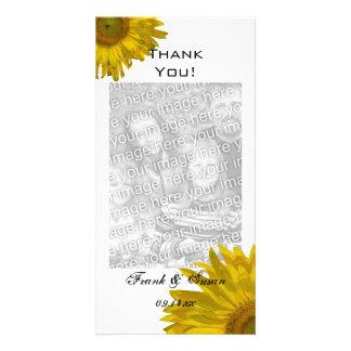 Los girasoles amarillos le agradecen tarjeta personal