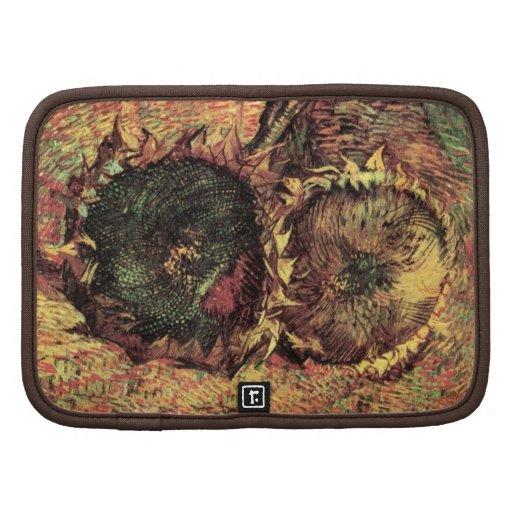 Los girasoles cortados de Van Gogh dos, vintage Organizadores