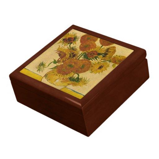 Los girasoles de Vincent van Gogh, 1878 Joyero Cuadrado Grande