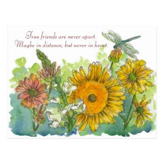 Los girasoles Snapdragon florecen el poema de la Postal
