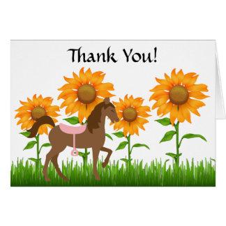 Los girasoles y el caballo bonitos le agradecen ca tarjeton