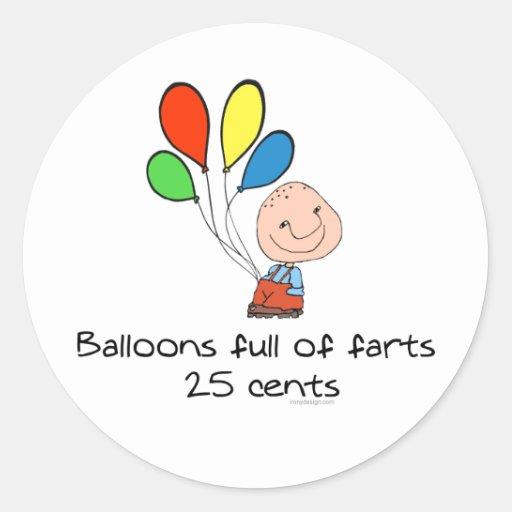 Los globos de farts por completo etiquetas redondas