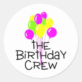 Los globos del equipo del cumpleaños pegatina redonda