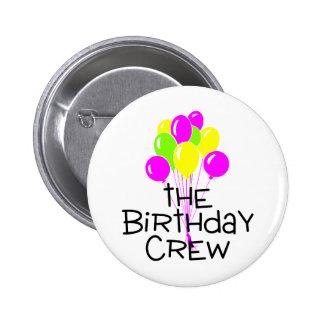 Los globos del equipo del cumpleaños pin redondo de 2 pulgadas