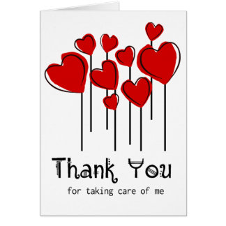 Los globos rojos del corazón le agradecen cuidar tarjeta pequeña