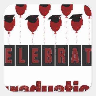 Los globos rojos que llevan los casquillos de la pegatina cuadrada