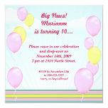 Los globos rosados invitan anuncio