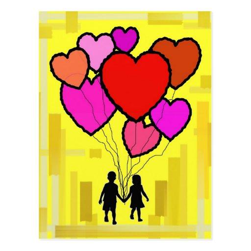 Los globos y los niños postales
