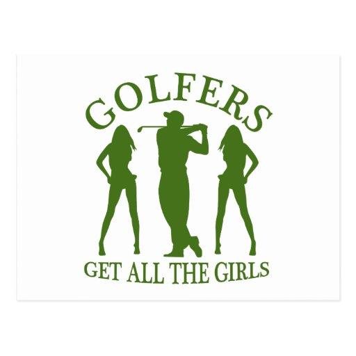 Los golfistas consiguen a todos los chicas postal