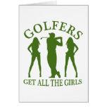 Los golfistas consiguen a todos los chicas tarjeton