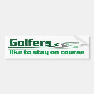 Los golfistas tienen gusto de permanecer en curso pegatina para auto