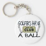 Los golfistas tienen una bola llaveros personalizados