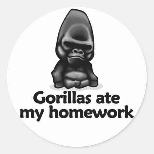 Los gorilas comieron mi preparación pegatina redonda