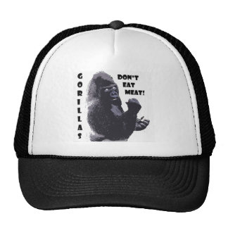 ¡Los gorilas no comen la carne! Gorras De Camionero