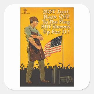 Los gorras de la bandera americana de las mangas pegatina cuadrada