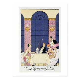 Los Gourmands, 1920-30 (impresión del pochoir) Postal
