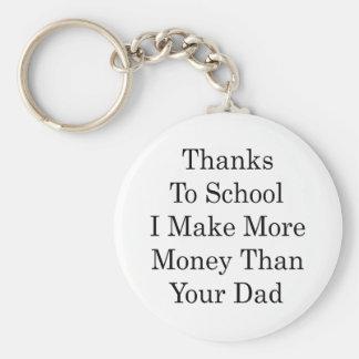 Los gracias a la escuela hago más dinero que su pa llavero redondo tipo pin