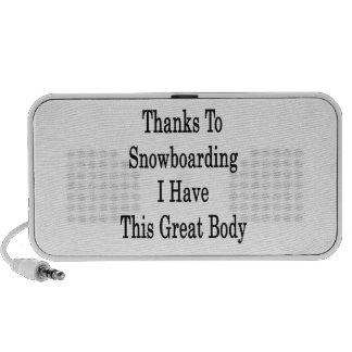 Los gracias a la snowboard tengo este gran cuerpo mini altavoces