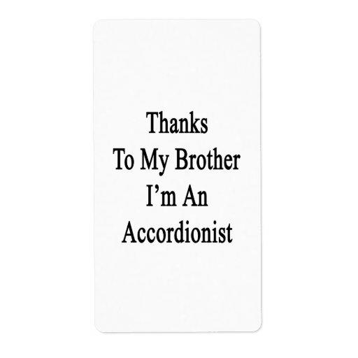 Los gracias a mi Brother soy acordeonista Etiquetas De Envío
