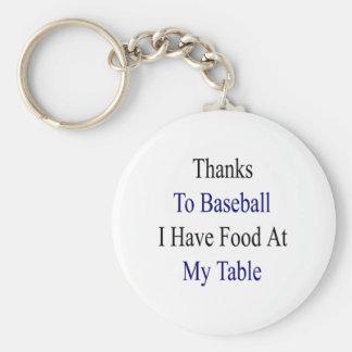 Los gracias al béisbol tengo comida en mi tabla llavero redondo tipo pin