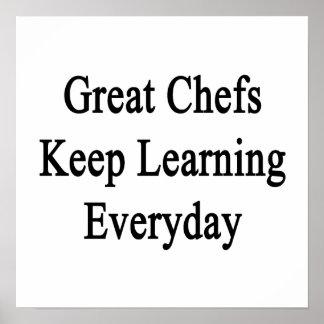 Los grandes cocineros mantienen el aprendizaje póster