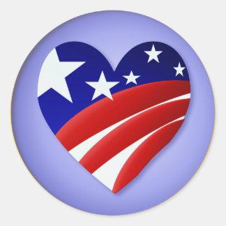 Los grandes pegatinas americanos del corazón etiquetas redondas