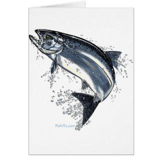 Los grandes salmones que van contra la corriente tarjeta de felicitación