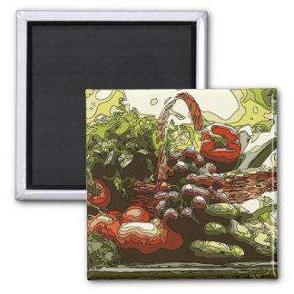 Los granjeros comercializan las frutas y verduras imanes
