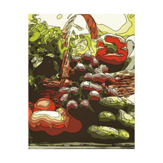 Los granjeros comercializan las frutas y verduras impresion en lona