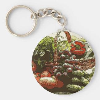 Los granjeros comercializan las frutas y verduras llavero redondo tipo pin