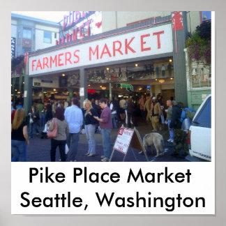 Los granjeros comercializan, mercado de lugar de P Póster