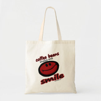 los granos de café hacen que sonríe bolsa tela barata